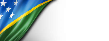 Solomon Islands flag isolated on white. Horizontal panoramic banner. Standard-Bild
