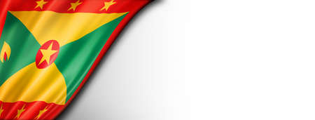 Grenada flag isolated on white. Horizontal panoramic banner.