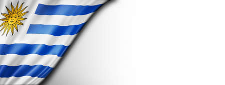 Uruguay flag isolated on white. Horizontal panoramic banner.