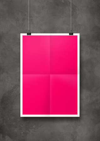 Pink folded poster hanging on a concrete wall with clips. Blank mockup template Standard-Bild