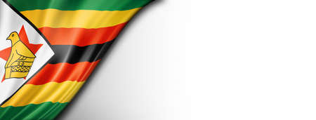 Zimbabwe flag isolated on white. Horizontal panoramic banner.