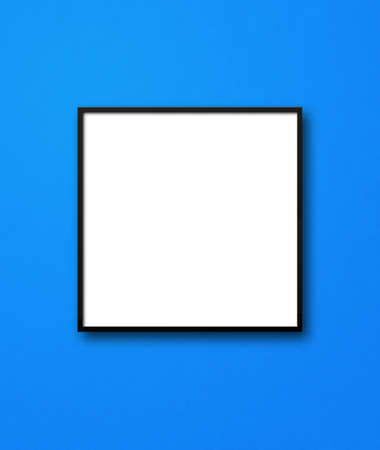 Black square picture frame hanging on a blue wall. Blank mockup template