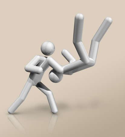 three dimensional judo symbol Standard-Bild - 155804325