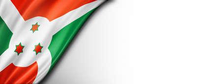 Burundi flag isolated on white. Horizontal panoramic banner.