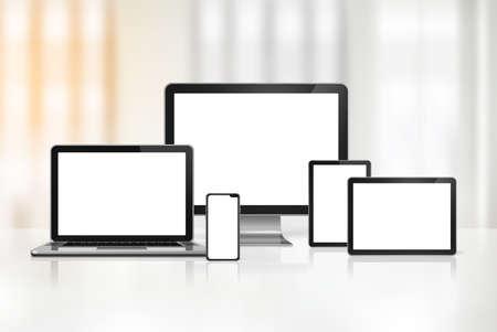 3D computer, laptop, mobile phone and digital tablet pc - office background. Illustration Standard-Bild