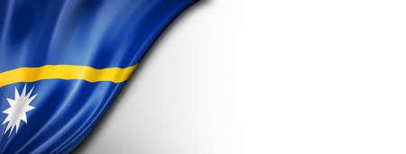 Nauru flag isolated on white. Horizontal panoramic banner.