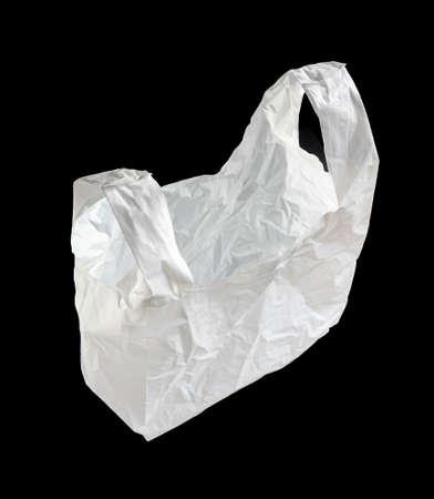 White plastic bag isolated on a black background Standard-Bild