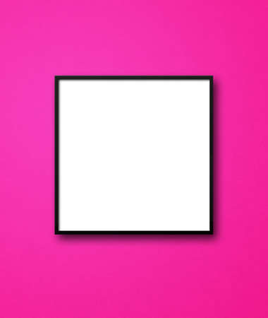Black square picture frame hanging on a pink wall. Blank mockup template