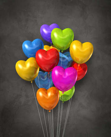 Colorful heart shape air balloons group on a dark concrete background. 3D illustration render