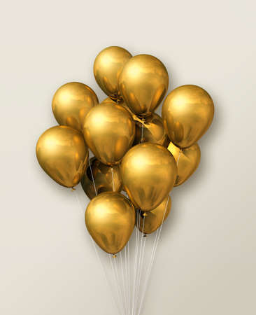 Gold air balloons group on a beige wall background. 3D illustration render
