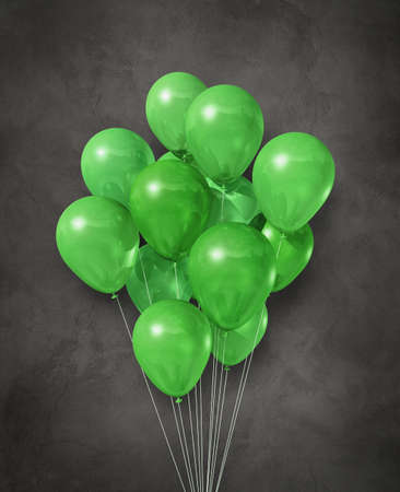 Green air balloons group on a dark concrete background. 3D illustration render Standard-Bild