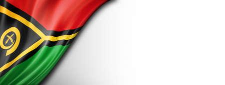 Vanuatu flag isolated on white. Horizontal panoramic banner.