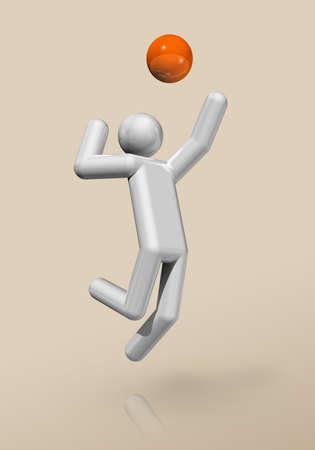three dimensional volleyball symbol