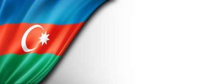 Azerbaijan flag isolated on white. Horizontal panoramic banner.