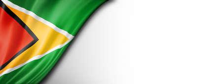 Guyana flag isolated on white. Horizontal panoramic banner.