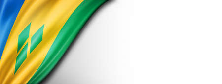 Saint Vincent and the Grenadines flag isolated on white. Horizontal panoramic banner.