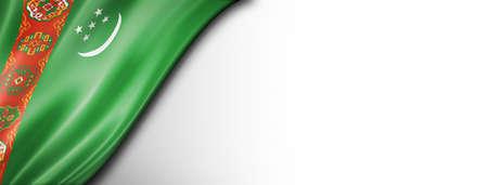 Turkmenistan flag isolated on white. Horizontal panoramic banner.