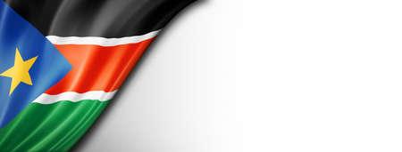 South Sudan flag isolated on white. Horizontal panoramic banner. Standard-Bild