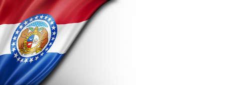 Missouri flag on white wall banner, USA. 3D illustration