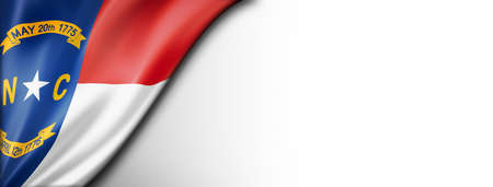 North Carolina flag on white wall banner, USA. 3D illustration