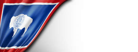 Wyoming flag on white wall banner, USA. 3D illustration