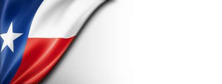 Texas flag on white wall banner, USA. 3D illustration Standard-Bild