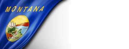 Montana flag on white wall banner, USA. 3D illustration Standard-Bild