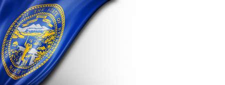 Nebraska flag on white wall banner, USA. 3D illustration Standard-Bild