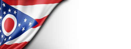 Ohio flag on white wall banner, USA. 3D illustration