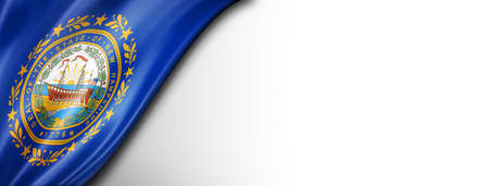 New Hampshire flag on white wall banner, USA. 3D illustration Standard-Bild
