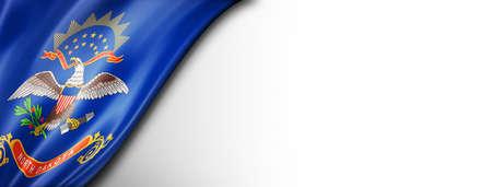 North Dakota flag on white wall banner, USA. 3D illustration