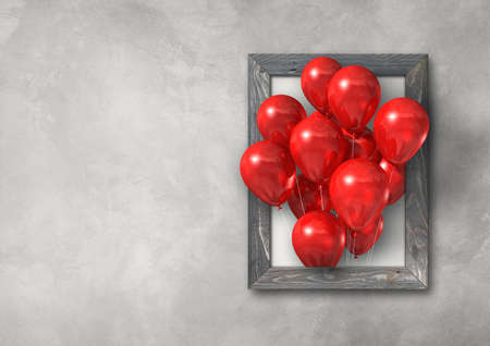 Red air balloons group in a picture frame on concrete wall banner. 3D illustration render