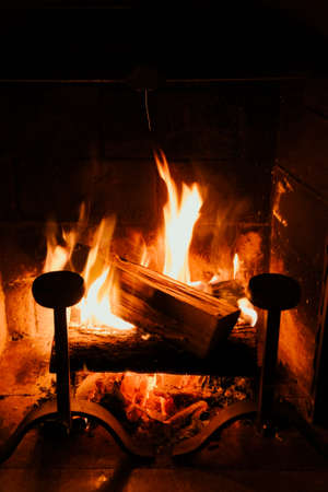 Fireplace close-up interior view at night. Abstract background 版權商用圖片