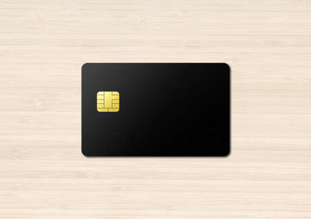 Black credit card template on a wooden background. 3D illustration