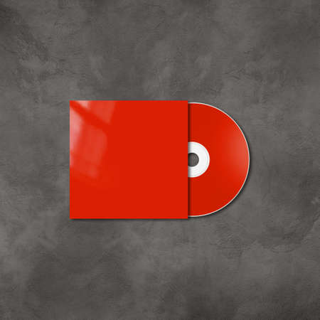 Red CD - DVD label and cover mockup template isolated on concrete background