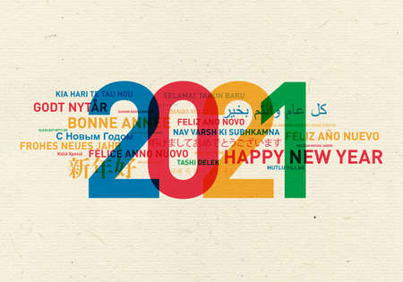 2021 Happy new year vintage card from the world in different languages and colors Stockfoto