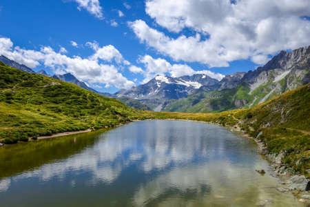 Lake of the nail, Lac du clou, in Pralognan mountains, french alps