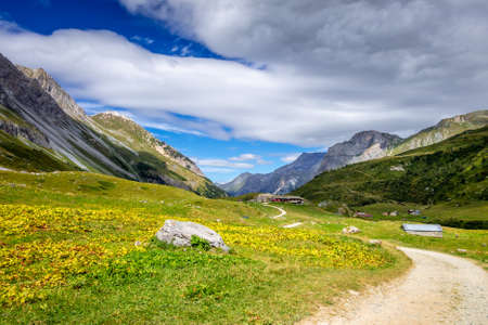 Mountain and hiking path landscape in Pralognan la Vanoise national park. French alps Archivio Fotografico
