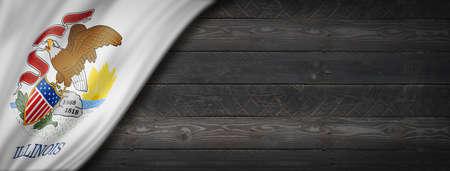 Illinois flag on black wood wall banner, USA. 3D illustration Archivio Fotografico