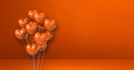 Heart shape balloons bunch on orange wall background. Horizontal banner. 3D illustration render Archivio Fotografico