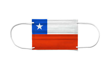 Flag of Chile on a disposable surgical mask. White background isolated
