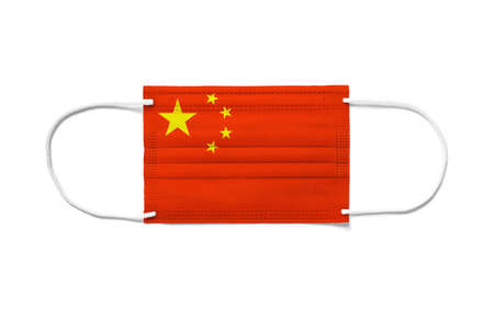 Flag of China on a disposable surgical mask. White background isolated