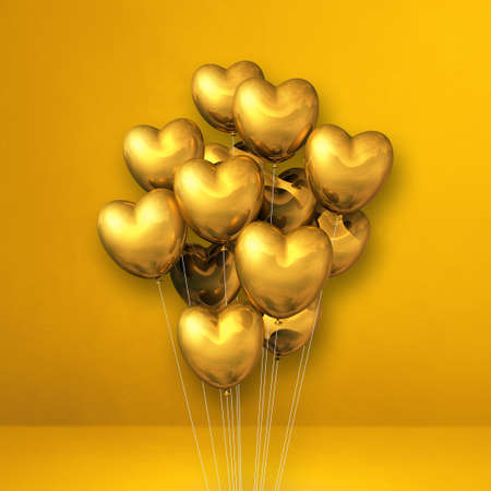 Gold heart shape balloons bunch on a yellow wall background. 3D illustration render