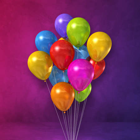 Colorful balloons bunch on a purple wall background. 3D illustration render