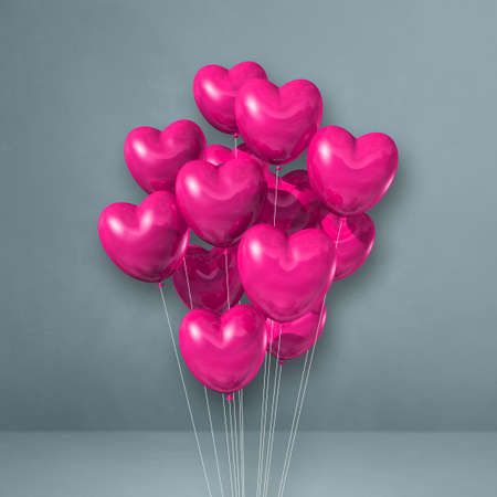 Pink heart shape balloons bunch on a grey wall background. 3D illustration render Archivio Fotografico