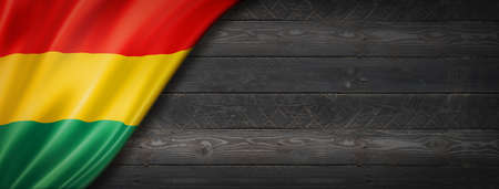Bolivia flag on black wood wall. Horizontal panoramic banner.