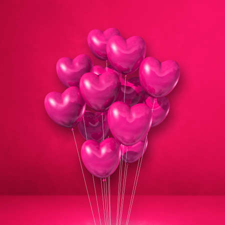 Heart shape balloons bunch on a pink wall background. 3D illustration render
