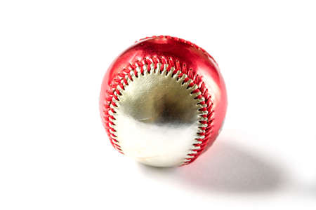 Red and silver Baseball ball isolated on white background
