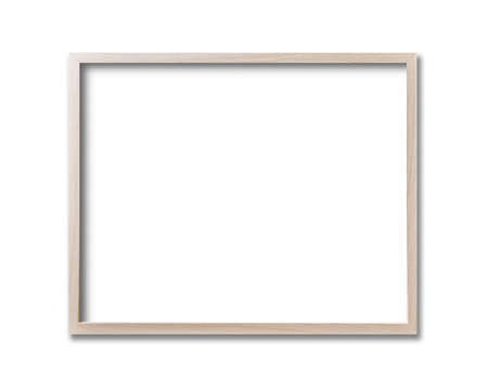 Wooden picture frame hanging on a white wall. Blank mockup template