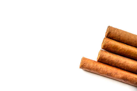 Group of brown cuban cigars isolated on white background Archivio Fotografico
